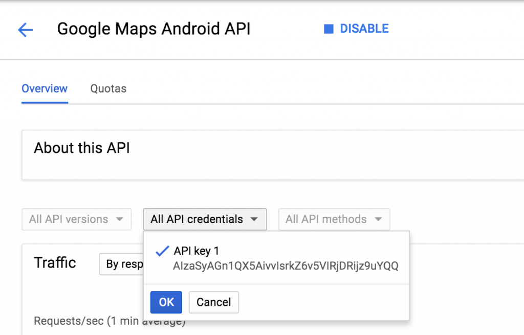 Ionic Google Maps Geolocation select api copy key