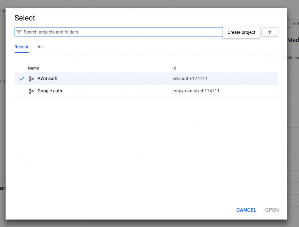 ionic AWS Google oauth create Google project