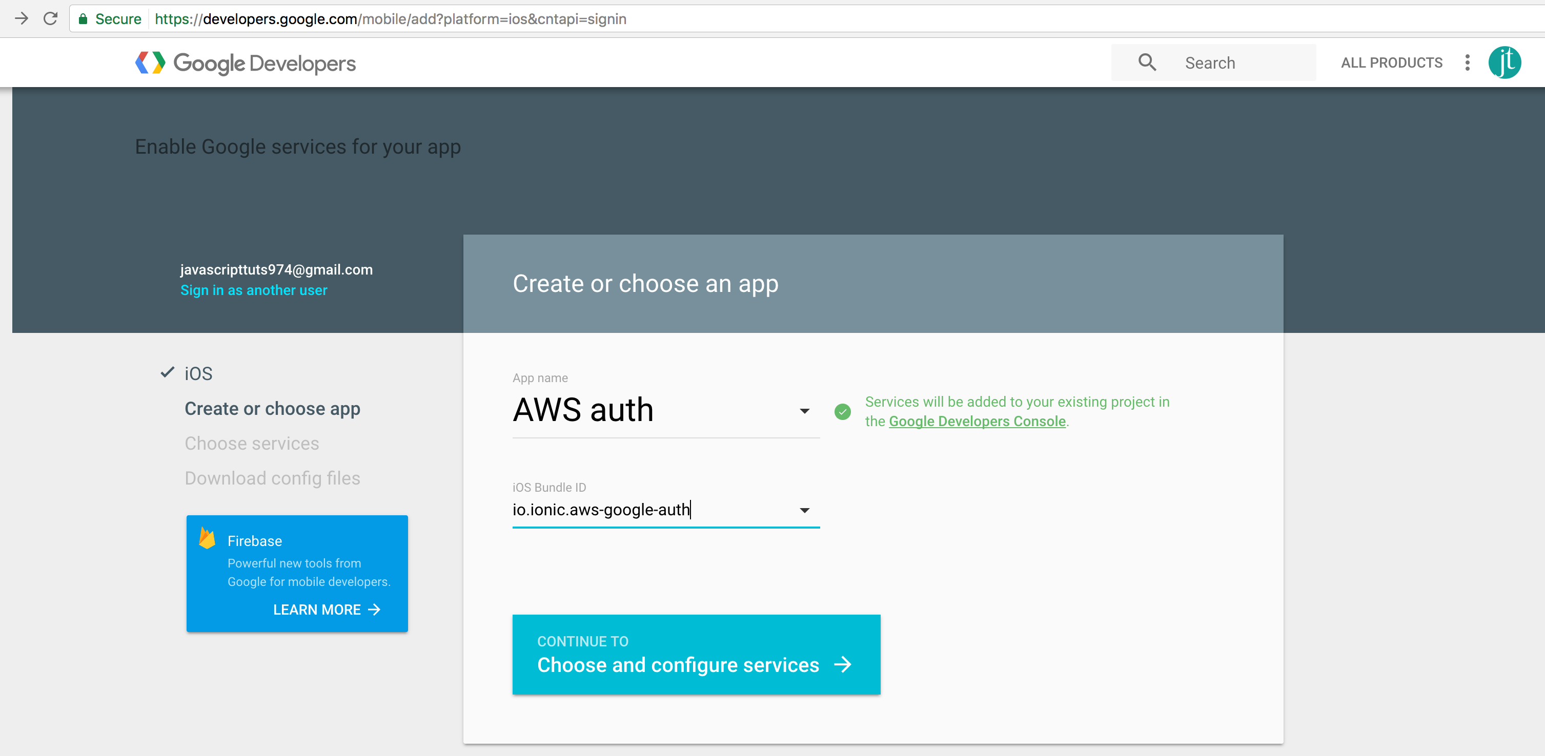 ionic AWS Google oauth get credentials